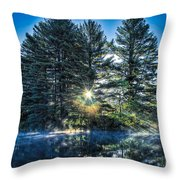 Rays Of Light On The Androscoggin River Throw Pillow