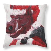 Razorback Santa Throw Pillow