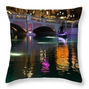 Razzle Dazzle - Colorful Neon Lights Up Canals And Gondolas At The Venetian Las Vegas Throw Pillow