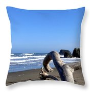 Reaching Back To The Sea Throw Pillow