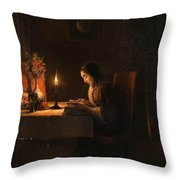 Reading By Candlelight Throw Pillow