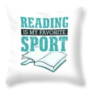 Reading Is My Favorite Sport Light Blue Throw Pillow