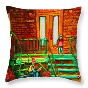 Reading On The Steps Throw Pillow
