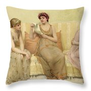 Reading The Story Of Oenone Throw Pillow by Francis Davis Millet
