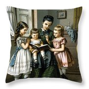 Reading To The Children Throw Pillow