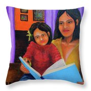 Reading With Mom Throw Pillow