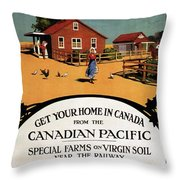 Ready Made Farms In Western Canada - Canadian Pacific - Retro Travel Poster - Vintage Poster Throw Pillow