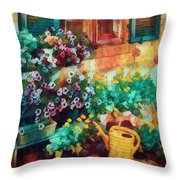 Ready To Water The Garden Oil Painting Throw Pillow