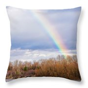 Real Rainbow Over The River Throw Pillow