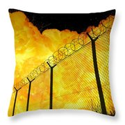 Realistic Fiery Explosion Behind Restricted Area Barbed Wire Fence Throw Pillow