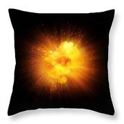 Realistic Fiery Explosion, Orange Color With Sparks Isolated On Black Background Throw Pillow