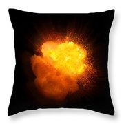 Realistic Fire Explosion, Orange Color With Smoke And Sparks Throw Pillow