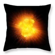 Realistic Fire Explosion, Orange Color With Sparks Isolated On Black Background Throw Pillow