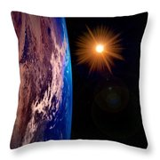 Realistic Illustration Of Earth And Sun Throw Pillow