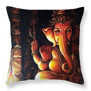 Portrait Of Lord Ganapathy Ganesha Throw Pillow