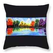 Realm Of Serene- Original Painting Throw Pillow