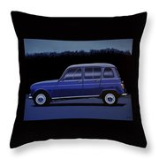 Renault 4 1961 Painting Throw Pillow