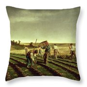 Reaping Sainfoin In Chambaudouin Throw Pillow by Pierre Edmond Alexandre Hedouin