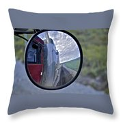 Rear View Mirror Of Alaska's Haul Road Throw Pillow