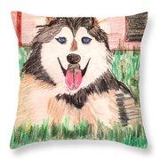 Rebel The Husky  Throw Pillow
