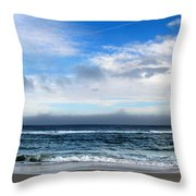 Receding Fog Seascape Throw Pillow