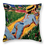 Reclining Blue Nude With Straw Hat Throw Pillow