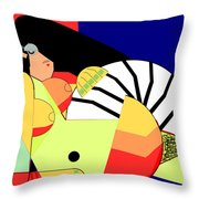 Reclining Nude In Blue And Red Throw Pillow