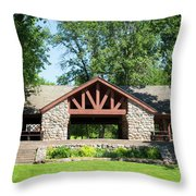 Recreation Shelter In Forest Park Throw Pillow