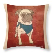 Recycled Pug Throw Pillow