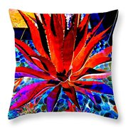 Red Agave Throw Pillow