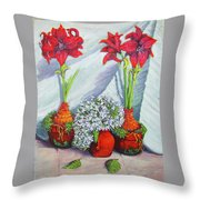 Red Amayrillis Throw Pillow