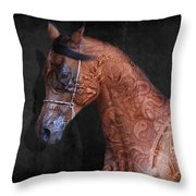 Red Ancient Horse No 01 Throw Pillow