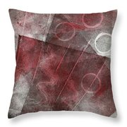 Red And Black Abstract Monoprint Throw Pillow