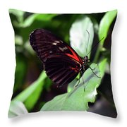 Red And Black Butterfly In The Garden Throw Pillow