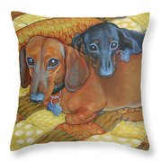 Red And Black Dachshunds - Best Buds Throw Pillow