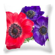 Red And Blue Anemone Flowers  Throw Pillow