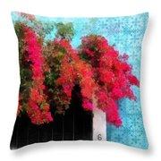 Bouganvillea And Blue Azulejos Throw Pillow