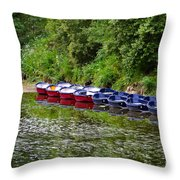 Red And Blue Boats On The River Coquet Throw Pillow