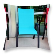 Red And Blue Chairs Throw Pillow