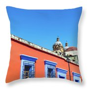 Red And Blue Colonial Architecture Throw Pillow