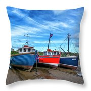 Red And Blue Fishing Boats Tenby Port Throw Pillow