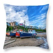Red And Blue Fishing Trawler In Low Tide Throw Pillow