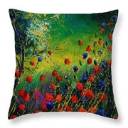 Red And Blue Poppies 67 1524 Throw Pillow