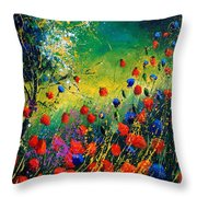 Red And Blue Poppies  Throw Pillow