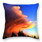 Red And Blue Sunset Throw Pillow