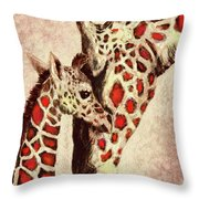 Red And Brown Giraffes Throw Pillow