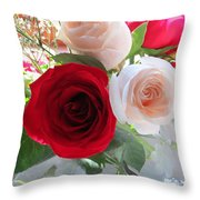 Red And Cream Tea Roses In Crystal Throw Pillow