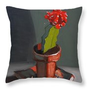 Red And Greed Cactus Throw Pillow