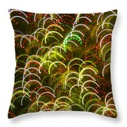 Red And Green Half Circle Lights Abstract Throw Pillow