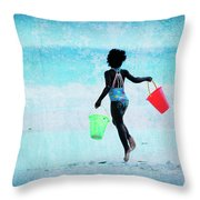 Red And Green Pails Throw Pillow